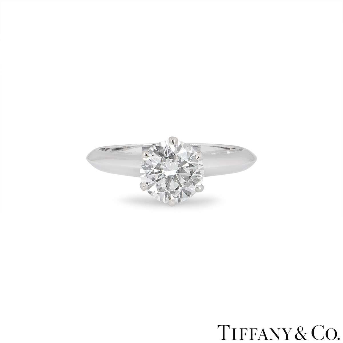 Tiffany & Co. Platinum Diamond Setting Ring 1.31ct G/VS2